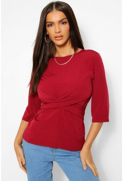 Berry red Woven 3/4 Sleeve Twist Front Blouse