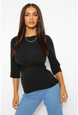 Black Woven 3/4 Sleeve Twist Front Blouse