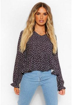 Black Woven Polka Dot Long Sleeve Smock Top