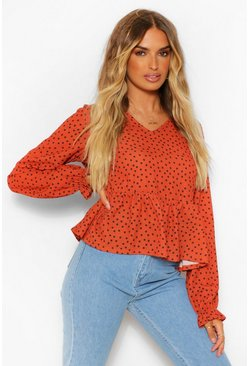 Rust orange Woven Polka Dot Long Sleeve Smock Top