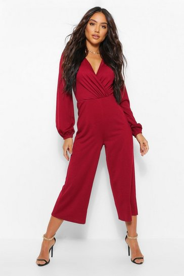 Berry red Wrap Long Sleeve Culotte Jumpsuit