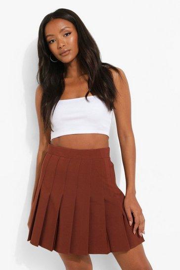 Chocolate brown  Woven Pleated Super Mini Tennis Skirt