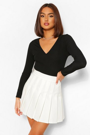 Ivory white  Woven Pleated Super Mini Tennis Skirt