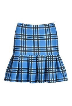 Blue Checked Pleated Drop Hem Tennis Skirt