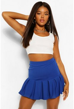 Blue Pleated Drop Hem Tennis Skirt