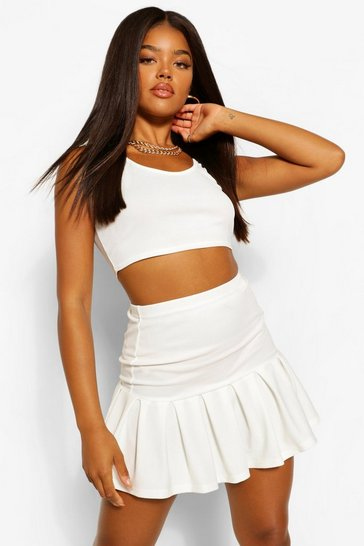 Ivory white Pleated Drop Hem Tennis Skirt