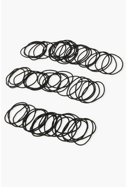Black 60 Piece Thin Hair Elastics