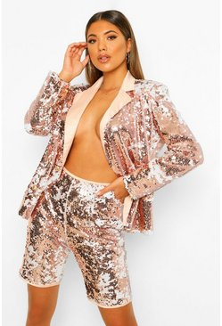 Sequin Blazer & Cycling Shorts Suit Set