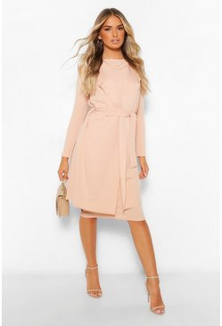 Stone beige Sleeveless Belted Duster and Midi Dress Set