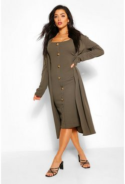 Khaki Collarless Duster and Button Through Midi Dress Set