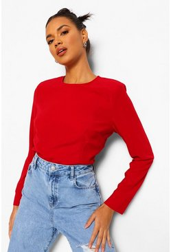 Berry red Woven Shoulder Pad Long Sleeve Crop Top