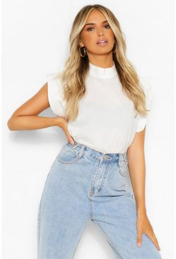 White Woven High Neck Oversized Shoulder Detail Top