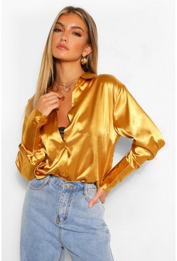 Gold metallic Satin Oversized Cuff Shirt