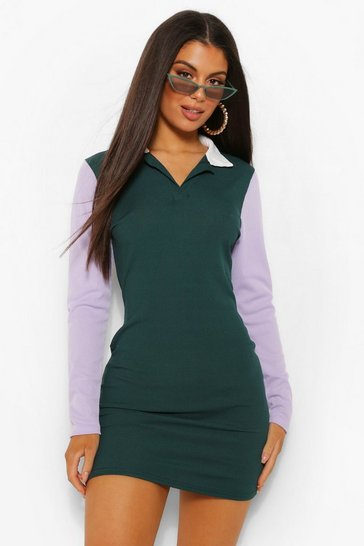 Green Rib Collared Colour Block Shift Dress
