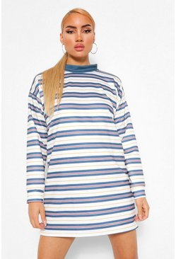 Blue Contrast Stripe Oversized Sweatshirt Dress