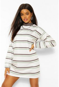 Ecru Contrast Stripe Oversized Sweatshirt Dress