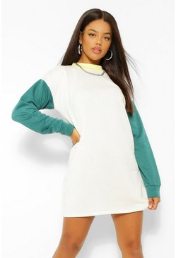 Robe sweat oversize contrastée, White blanc