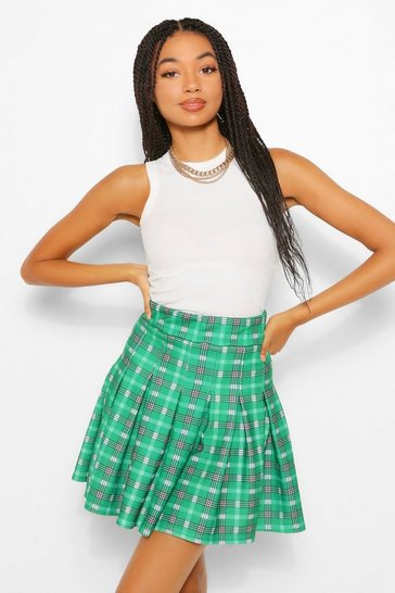 Emerald green Checked Pleated Tennis Skirt