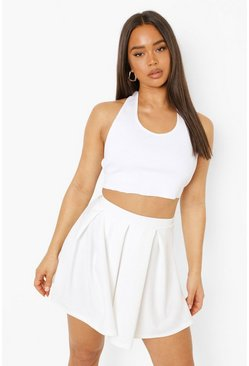 Ivory white Pleated Tennis Skirt