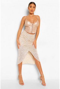 Gold metallic Ruched Front Sequin Midi Skirt
