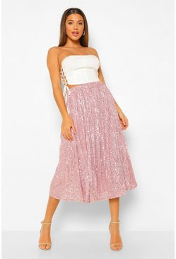 Mauve purple Pleated Sequin Longer Length Midi Skirt