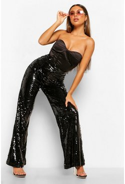 Black Shiny Sequin Wide Leg Trousers
