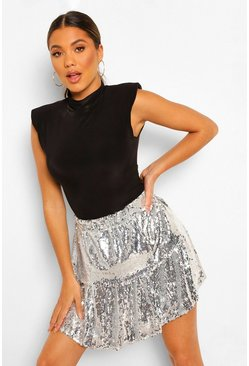 Silver Shiny Sequin Double Layer Mini
