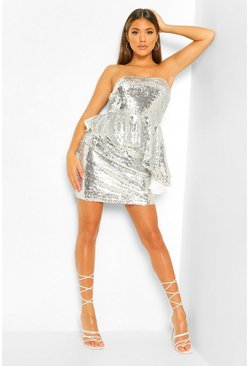 Silver Shiny Sequin A Line Mini