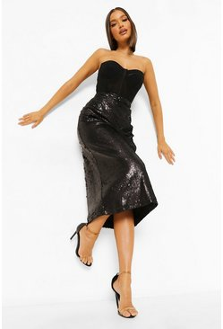 Black Matte Sequin Longer Length Midi