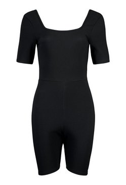 Black Bandage Rib Tie Back Unitard