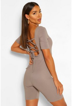 Grey Bandage Rib Tie Back Unitard