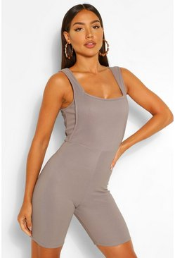Grey Bandage Rib Seam Detail Unitard