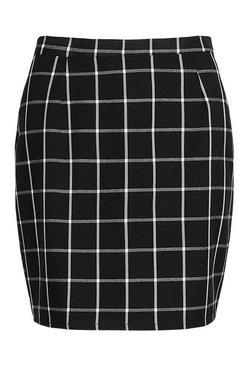 Black Mono Check A Line Woven Mini Skirt