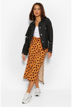 Rust orange Smudge Print Peplum Split Midi Skirt