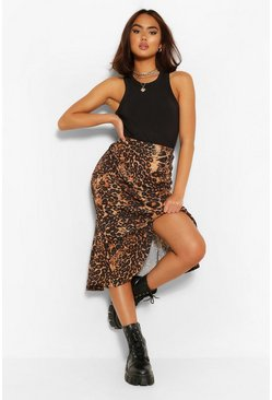 Tan brown Leopard Print Drop Hem Woven Midi