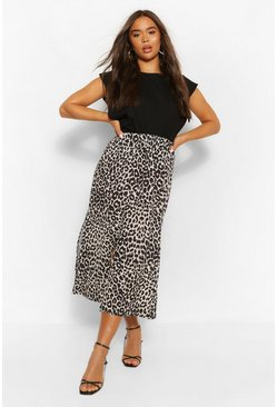 Cream white Leopard Split Front Woven Midi Skirt