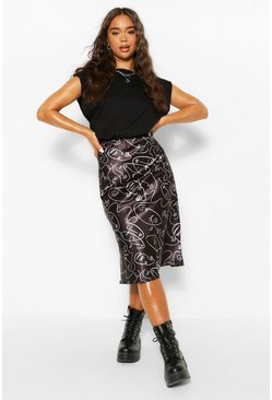 Black Abstract Print Slip Skirt