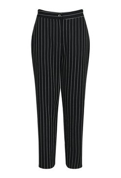 Black Pinstripe Tapered Woven Trousers