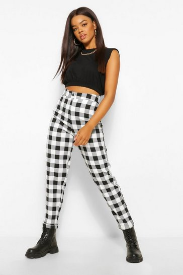 Black Large Check Tapered Woven Trousers