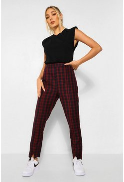 Black Checked Split Front Woven Pants