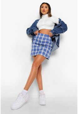 Blue Checked A Line Woven Mini