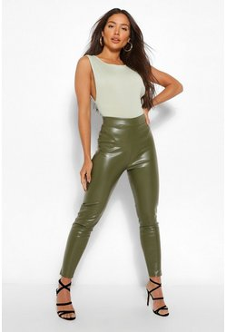 Khaki Stretch Leather Look Ruched Bum Legging