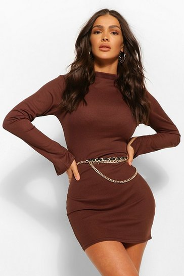 Chocolate brown High Neck Split Sleeve Bodycon Mini Dress