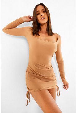 Camel beige Ruched Square Neck Rib Mini Dress