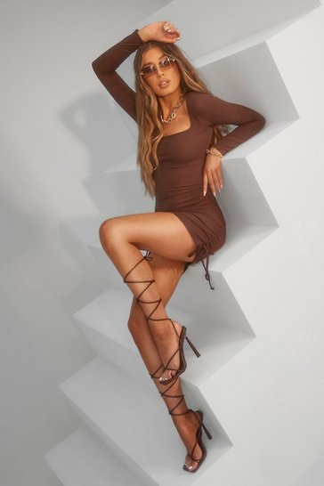 Chocolate brown Ruched Square Neck Rib Mini Dress