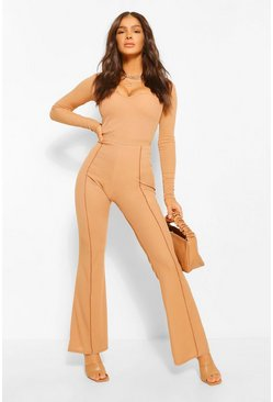 Camel beige Piping Detail Rib Flares