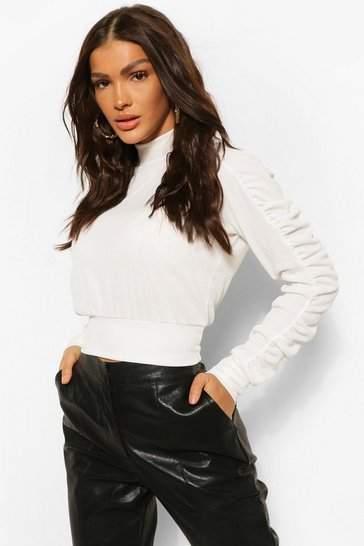 White Ruched Sleeve Rib Crop Top