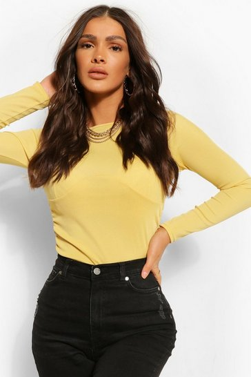 Chartreuse yellow Drawstring Side Underbust Seam Detail Rib Crop