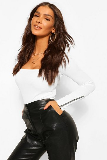White CURVE Square Neck Zip Cuff Detail Rib Top