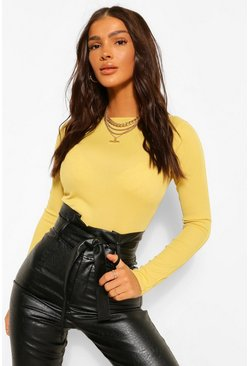 Chartreuse yellow Seam Detail Rib Long Sleeve Top